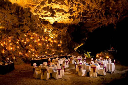 Dinner at Cave in Halong Bay